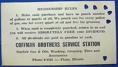 Coffman Brothers Sinclair Service Station Plano Illinois Dividend Card Vintage