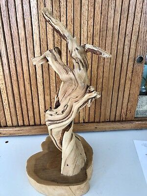 "Vintage 15"" Mid Century Abstract Driftwood Art Sculpture on Cypress Base"