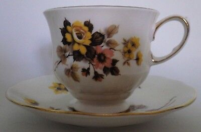 Queen Anne China Tea Cup and Saucer Floral 70s Colors!
