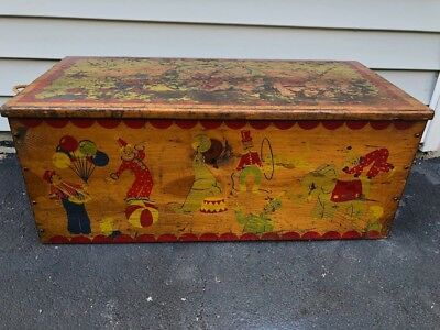Vintage Antique Wood Toy Box Toy Chest With Circus Theme