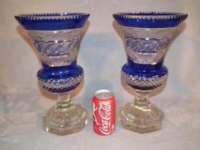"Pair Exquisite Antique 13"" Tall Cobalt & Clear Cut Glass Large Urns / Vases"