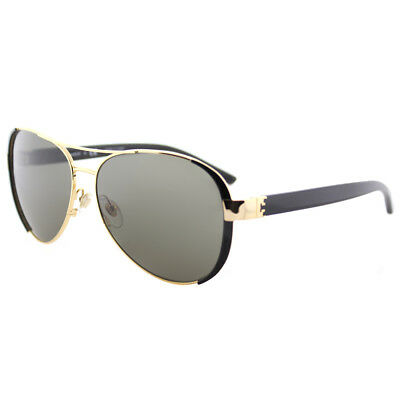 1d73e9bc68 Tory Burch TY 6052 31333 Gold Black Metal Aviator Sunglasses Brown Lens