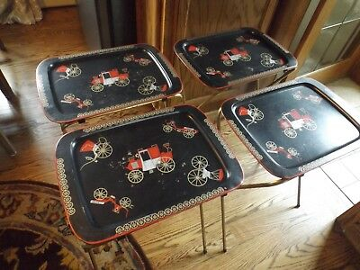 Vintage 4 Metal TV Trays or Tables Buggies Carriages Stagecoach 1960s