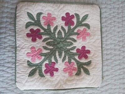 """pillow cover Hawaiian hand quilted (12"""" x 12"""")"""