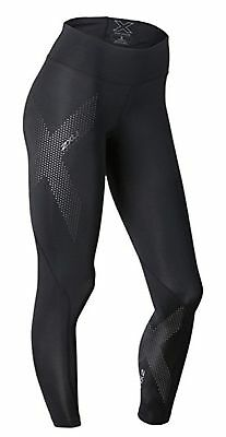 2XU Women's Mid-Rise Compression Tights, Black/Dotted Reflective Logo, Large