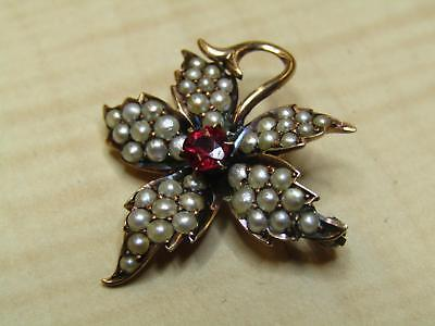 Vintage Unmarked Tests 8k Yellow Gold Jewelry Pin Brooch Seed Pearls Leaf