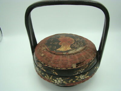 Estate Very Old Chinese Lacquered Bamboo Basket With Character & Inscription