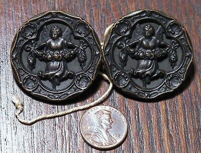 "Pair of Large 1 1/2"" Angel w Garland Victorian Fairy Figural Coat  Button"