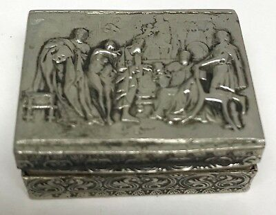 Antique Match Box Italian Silver Hinged Roman Scene Relief Made in Italy