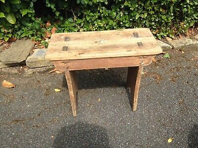 Stripped , Vintage Antique Old Wooden, Stool Seat