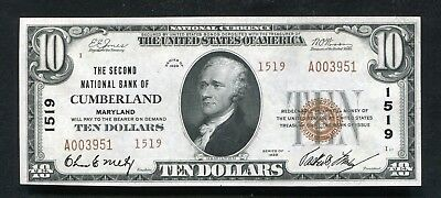 1929 $10 Tyii The Second Nb Of Cumberland, Md National Currency Ch. #1519 Au