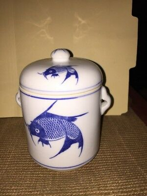 Vintage Asian Blue and White Porcelain Koi Fish Ginger Jar w/Lid