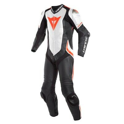 Dainese Laguna Seca 4 1Pc Perf. Motorcycle Suit Black White Fluo Red - New!