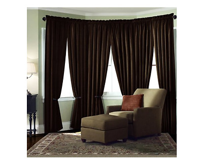 Velvet Theater ABSOLUTE BLACKOUT Energy Efficient Curtain Panel 40x95 Brown