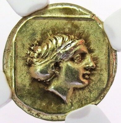 377-326 Bc Ancient Greece Isle Of Lesbos Gold/ El-Hecte Apollo Ngc Choice Xf 5/4