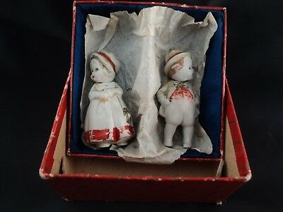 Pair German Porcelain Bisque Man Woman Nodders Germany Hand Painted Original Box