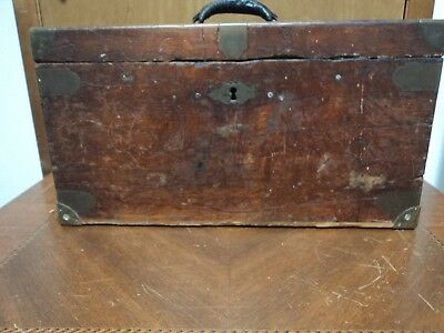 Antique 19th Century Wood Brass Document Storage Valuables Tool Box Chest Key