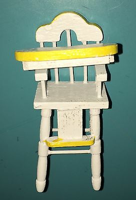Dollhouse Miniature White & Yellow Baby Infant Toddler High Chair Highchair 1:12