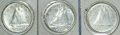 Canada(3)Coins 10 Cents 1943 Very Fine,1951 Extra Fine,1953 Vf/xf 0.8000 Silver