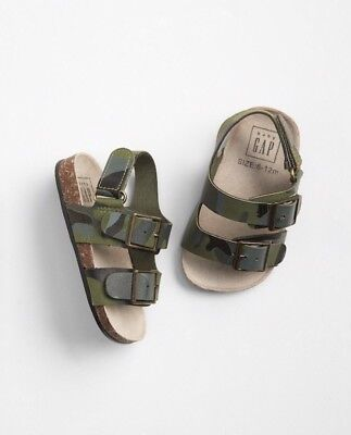 Gap Baby Boy Double Buckle Cork Sandals Shoes Green Camo Size 3-6 Months NWT