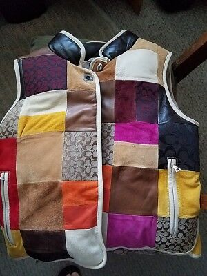 Kids Coach Suede And Leather Patchwork Vest Size Xl