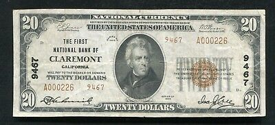 1929 $20 Tyii First National Bank Of Claremont, Ca National Currency Ch. #9467