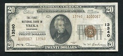 1929 $20 Tyii The First National Bank In Yreka, Ca National Currency Ch. #13340