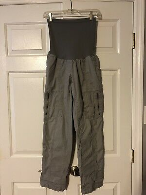 A PEA IN THE POD Maternity Secret Fit Belly Roll-Up Cargo Pants Gray Sz S - GUC!