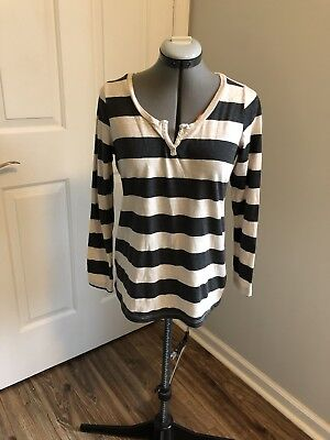 A PEA IN THE POD Maternity Shirt Long Sleeve Striped Black/Ivory Sz S - EUC!