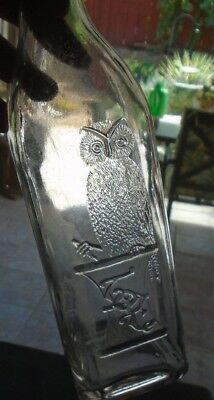 "Owl Drug Bottle Whiskey Top  11-1/2"" Clear   1 Wing   Bold Strike  Unusual Bird"