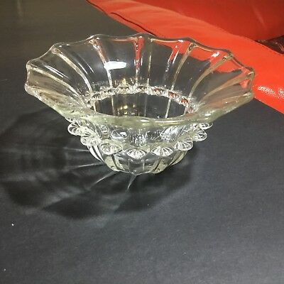 Vintage Glass Dish With Applied Rigaree