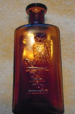"Owl Drug Bottle  4-7/8"" Amber Medicine   1 wing bird   Rare Size   Very Clean"