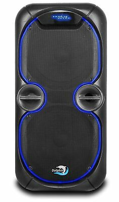 Dolphin SP-28RBT Portable Bluetooth Party Speaker | Lights, Battery, Aux-Out