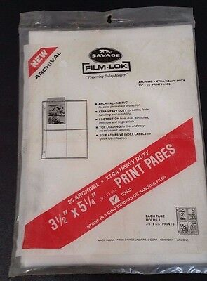 Film-Lok Print Pages - Pack 25 Picture Pages - Holds 3.5 x 5.25 Inch Pictures D