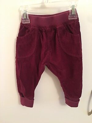 Tea Collection Baby Girls Burgundy Corduory Pants Sz 3-6 Months EUC Cotton