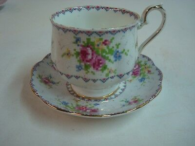 Beautiful Vintage Cup and Saucer, Royal Albert, Petite Point, England