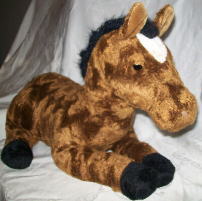 """Fao Schwarz 30"""" Plush Brown With Black/white Horse Soft Cute Excellent Condition"""
