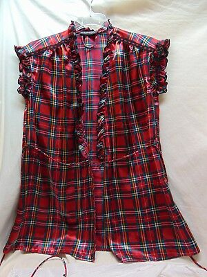 """Women's Size Small or Medium Red Plaid Satin """"Cover-Up"""" by Cinema Etoile"""