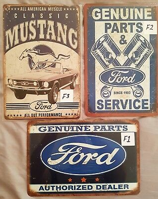 Ford Pack of 3 Metal Tin Signs Bar Shed & Man Cave Signs AU Seller