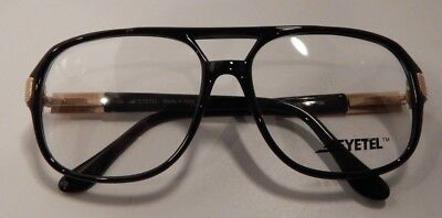 Vintage Eyetel Oscar Black 52/17 Men's Dbl Bridge Eyeglass Frame NOS #268