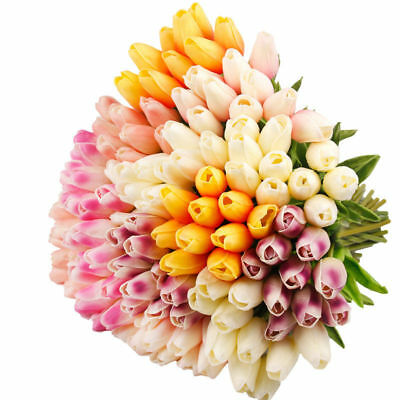 10x Tulip Artificial Flower Latex Real Touch Bridal Wedding Bouquet Home Deco SL