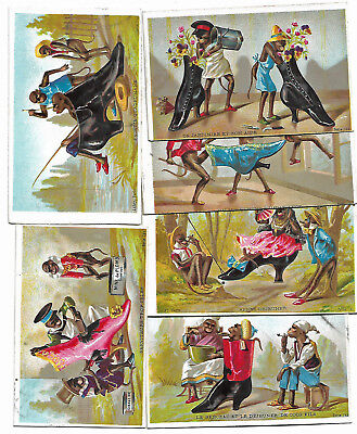 Trade Card Lot Monkies Comical Scenes French High Top Shoes