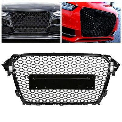 For 13-16 Audi A4 S4 B8.5 ABS Front Mesh Honeycomb Grill Gloss Black Euro RS4 WY