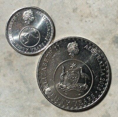2 coins 2016 Australian 50 Years of Decimal currency 5 cent and 20 cent