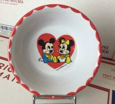 Vintage Minnie Mickey Mouse Babies Toddler Bowl Red Heart 1984 Disney 80s