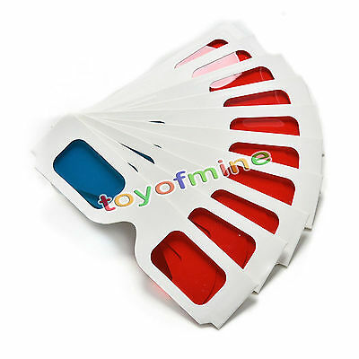 10pcs/lot Universal Anaglyph Cardboard Paper Red Blue Cyan 3D Glasses For Movie