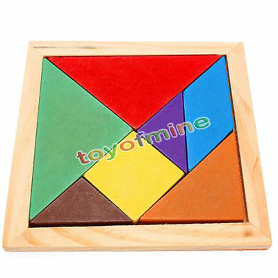 Wooden IQ Game Jigsaw Intelligent Tangram Brain Teaser Puzzle Baby Kid Toy Cool