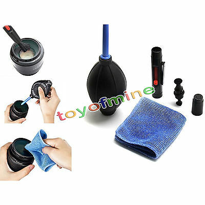 New 3 in 1 Lens Cleaning Cleaner Dust Pen Blower Cloth Kit For DSLR VCR Camera