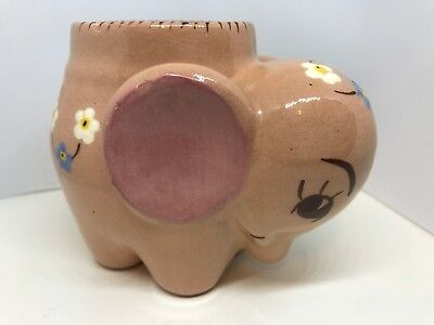 Antique Redware Vintage Pottery Pink Elephant Planter Hand Painted Flowers