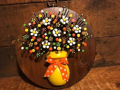 AWESOME Vintage Retro Mod Hand Crafted Flower Power Nail Wall Art